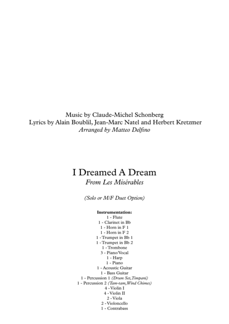 I Dreamed A Dream (Solo Voice(s) and Orchestra)