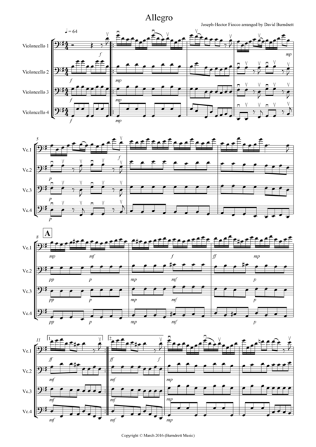 Allegro by Fiocco for Cello Quartet