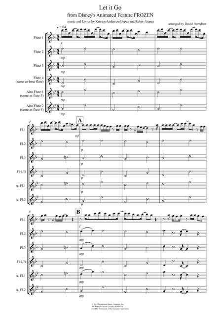 Let It Go (from Frozen) for Flute Quartet