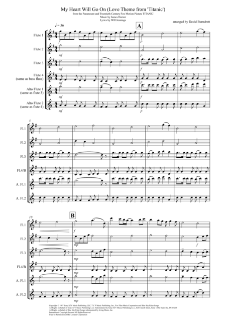 My Heart Will Go On (Love Theme from Titanic) for Flute Quartet