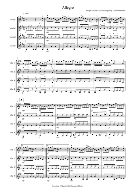 Allegro by Fiocco for Violin quartet