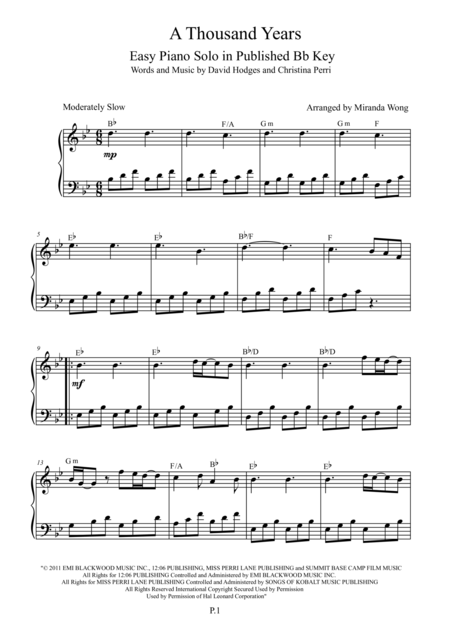 A Thousand Years - Easy Piano Solo in Bb (Published Key)