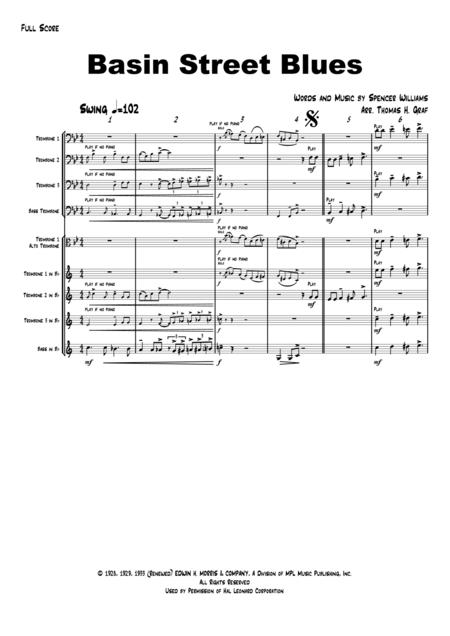 Basin Street Blues - Jazz - Trombone Quartet