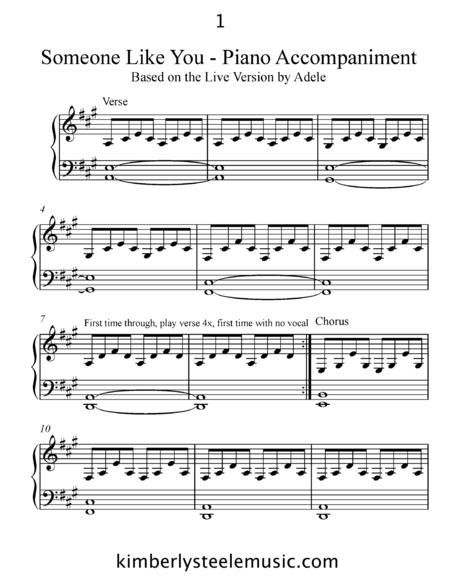 Someone Like You Piano Accompaniment - Based on Adele's Live Version