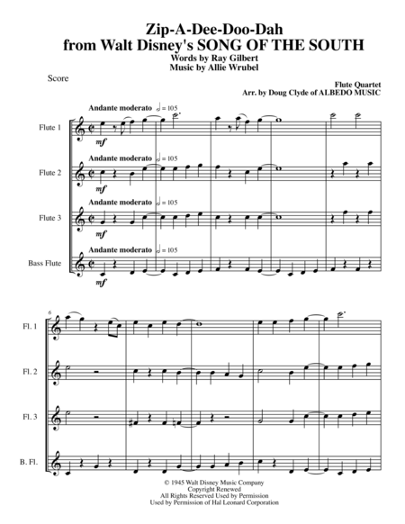 Zip-A-Dee-Doo-Dah from Walt Disney's SONG OF THE SOUTH for Flute Quartet