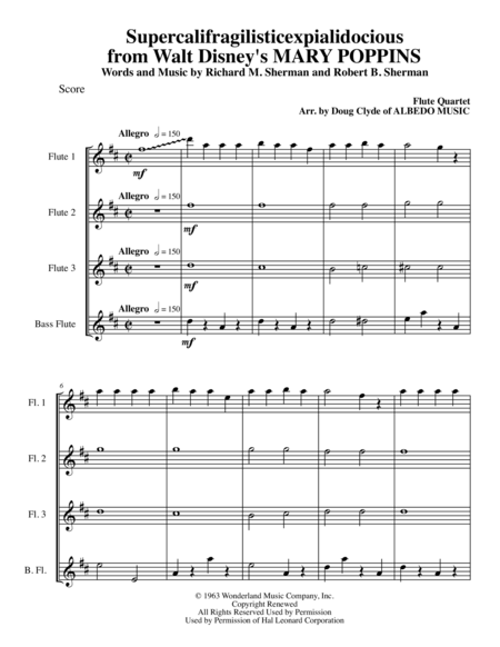 Supercalifragilisticexpialidocious from Walt Disney's MARY POPPINS for Flute Quartet