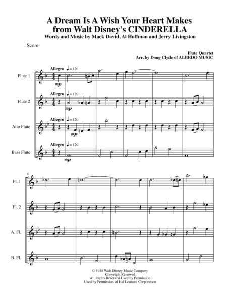 A Dream Is A Wish Your Heart Makes from Walt Disney's CINDERELLA for Flute Quartet