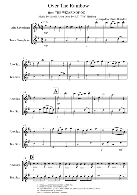Over The Rainbow (from The Wizard Of Oz) for Alto and Tenor Saxophone Duet