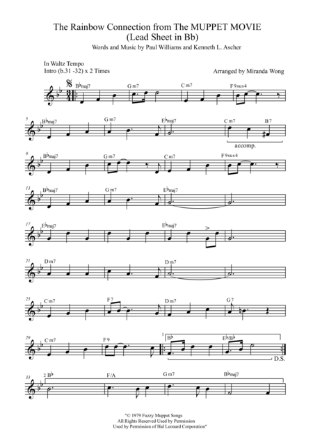 The Rainbow Connection - Lead Sheet in Bb (Tenor or Soprano Saxophone Solo)