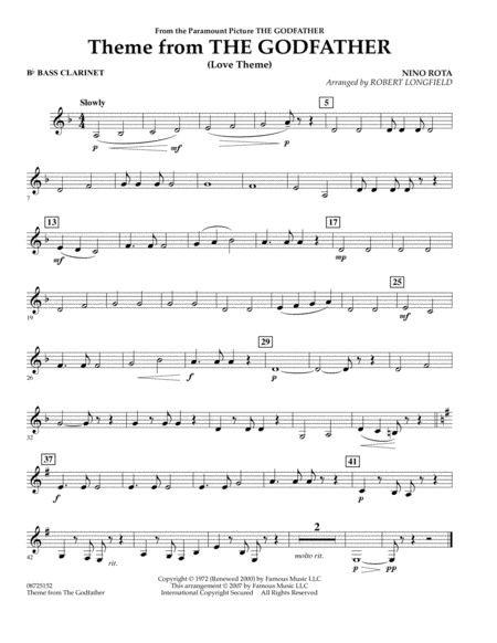 Theme From The Godfather - Bb Bass Clarinet