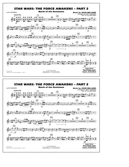 Star Wars: The Force Awakens - Part 2 - 1st Bb Trumpet