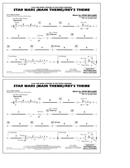 Star Wars Main Theme/Rey's Theme (from The Force Awakens) - Aux Percussion