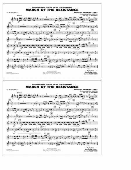 The March of the Resistance (from Star Wars: The Force Awakens) - 1st Bb Trumpet