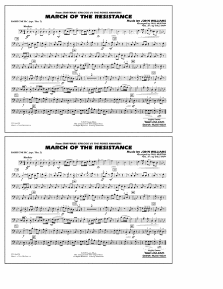 The March of the Resistance (from Star Wars: The Force Awakens) - Baritone B.C. (Opt. Tbn. 2)
