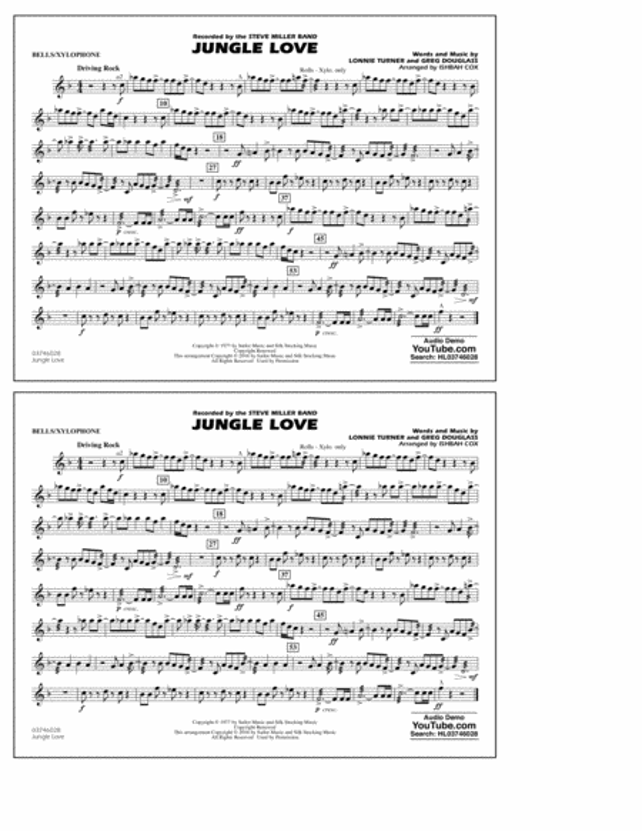 Jungle Love - Bells/Xylophone