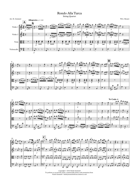 Rondo Alla Turka: String Quartet