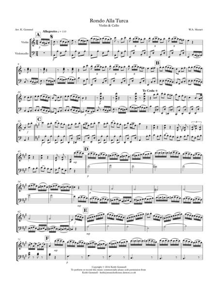 Rondo Alla Turka: Violin & Cello Duet