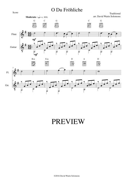 O du fröhliche (O Sanctissima) for flute and guitar (simple version)