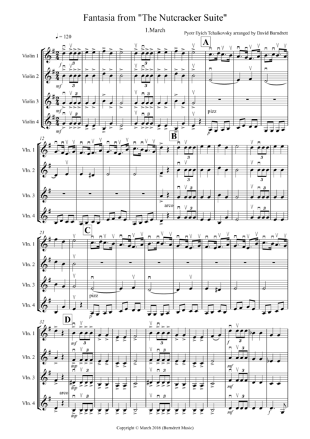 March (Fantasia from the Nutcracker) for Violin Quartet
