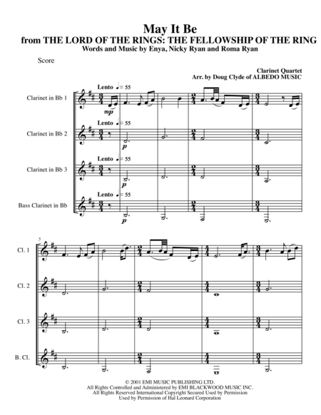 May It Be from THE LORD OF THE RINGS: THE FELLOWSHIP OF THE RING for Clarinet Quartet