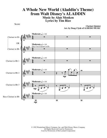 A Whole New World (Aladdin's Theme) from Walt Disney's ALADDIN for Clarinet Quintet