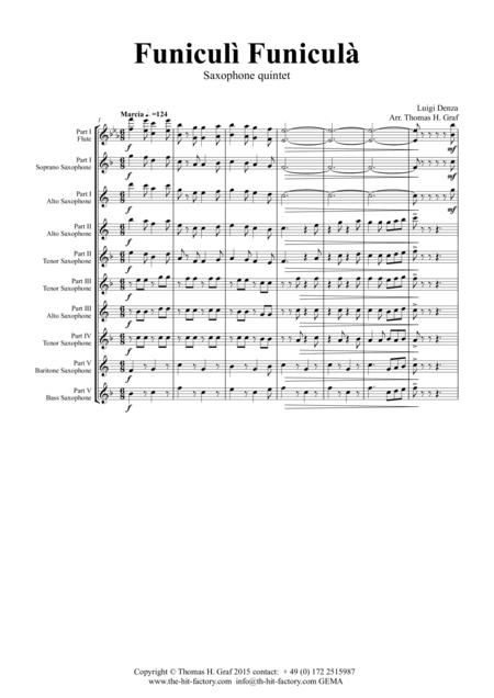 Funiculi Funicula - Italian Evergreen - Saxophone Quintet