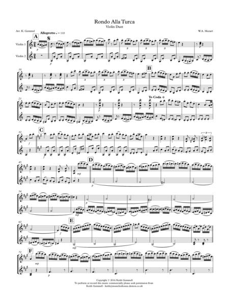 Rondo Alla Turka: Violin Duet
