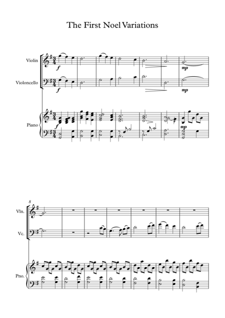The First Noel variations for Piano trio