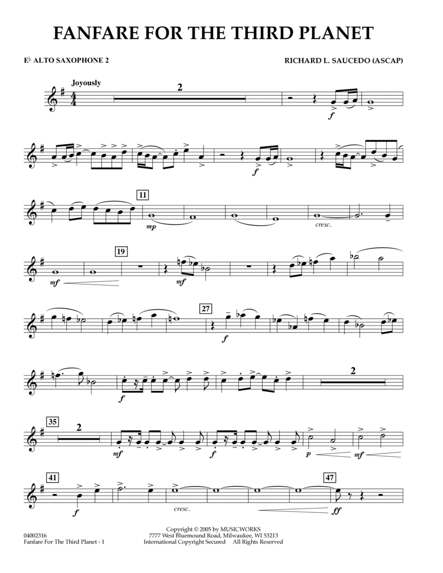 Fanfare for the Third Planet - Eb Alto Saxophone 2