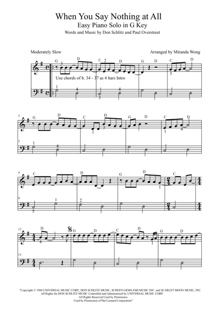 When You Say Nothing at All - Easy Piano Solo in G Key (With Chords)