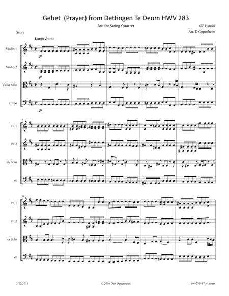 Handel: Gebet (Prayer) from Dettingen Te Deum HWV 283 arr. for String Quartet