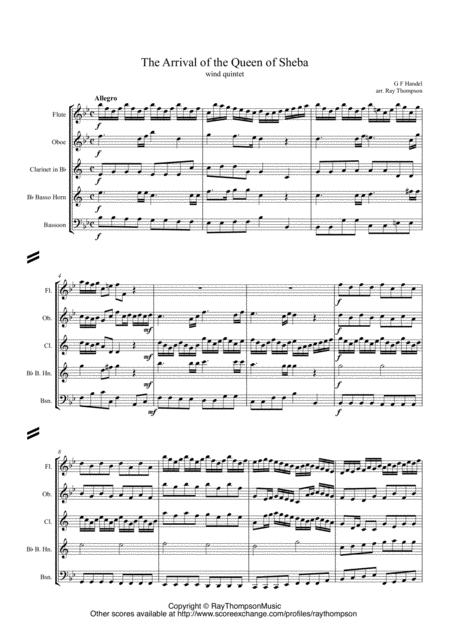 Handel: Solomon HWV67: Sinfonia: The Arrival of the Queen of Sheba arr. wind quintet