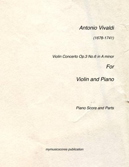 Violin Concerto Op.3 No.6 for Violin and Piano