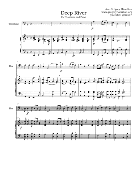 Deep River, for Trombone and Piano