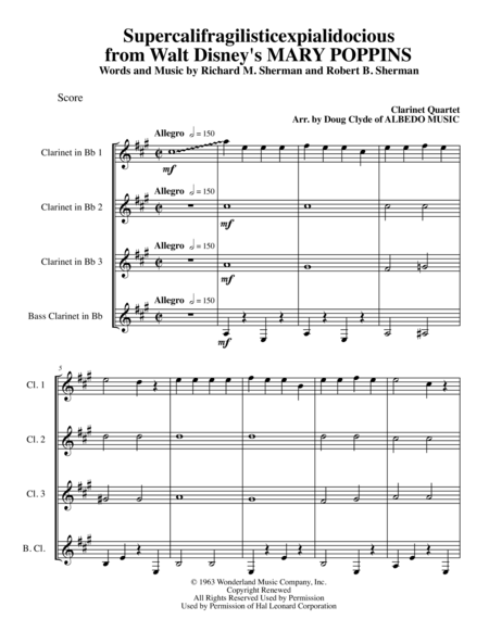 Supercalifragilisticexpialidocious from Walt Disney's MARY POPPINS for Clarinet Quartet