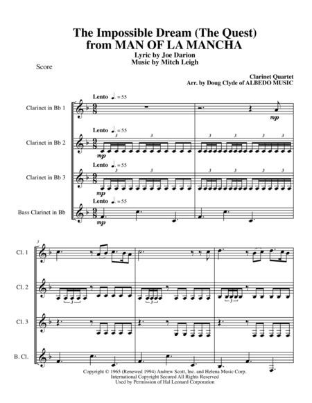 The Impossible Dream (The Quest) from MAN OF LA MANCHA for Clarinet Quartet