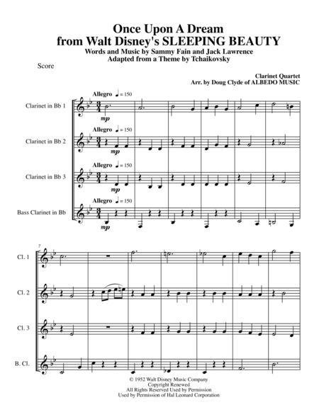 Once Upon A Dream from Walt Disney's SLEEPING BEAUTY for Clarinet Quartet