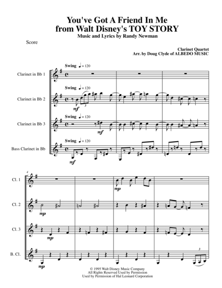 You've Got A Friend In Me from Walt Disney's TOY STORY for Clarinet Quartet