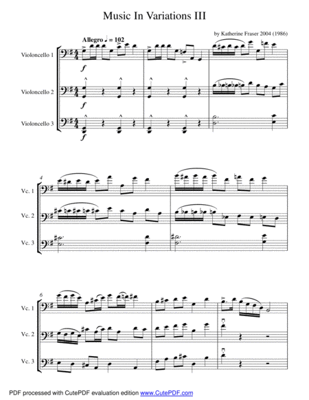 2016 Chamber Music Contest Entry - Music in Variations III for Cello Trio