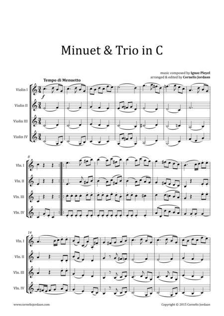 PLEYEL : Easy Minuet & Trio for violin quartet