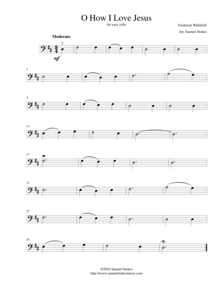 O How I Love Jesus - for easy cello