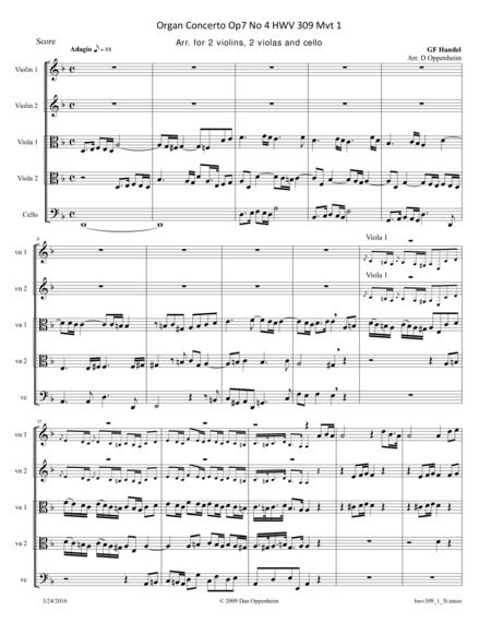 Handel: Concerto HWV 309 Movement 1 arr. for String Quintet