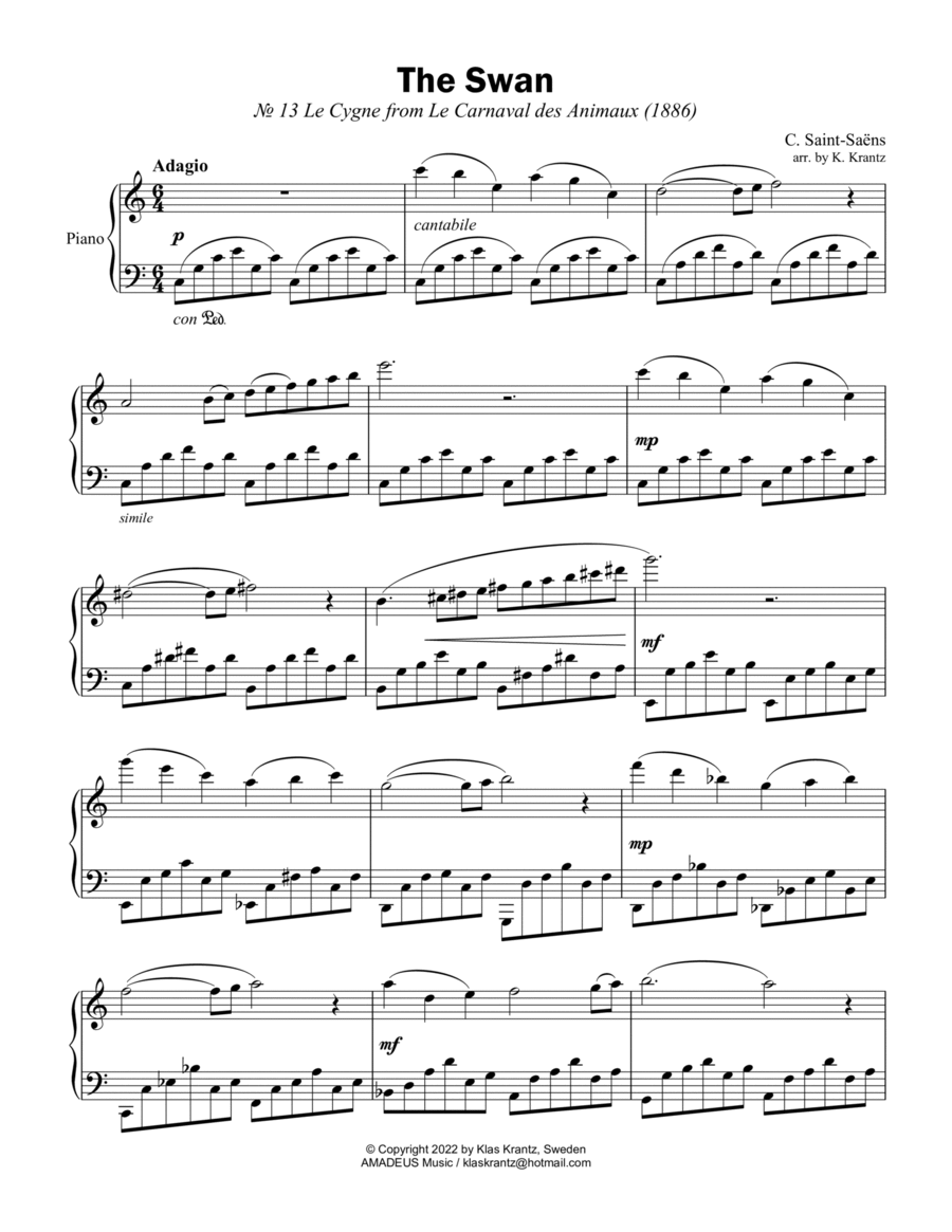 The Swan for easy piano solo