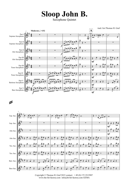 Sloop John B. - Caribian Folk Song - Saxophone Quintet