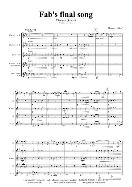 Fabs final song - Ballad - Jazz - Clarinet Quartet