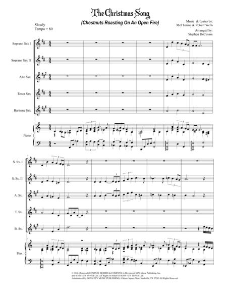 The Christmas Song (Chestnuts Roasting On An Open Fire) (for Saxophone Quintet)