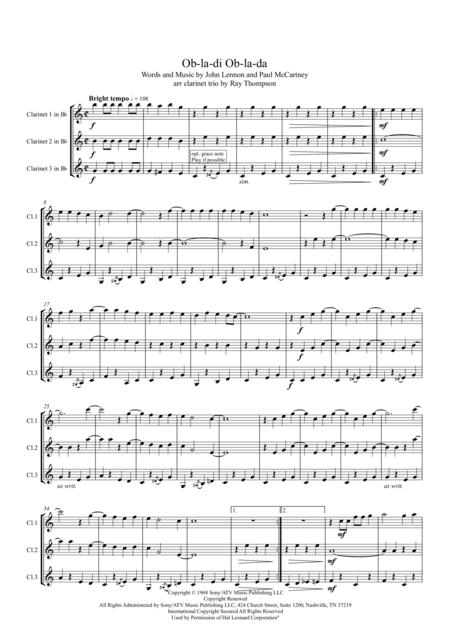 Beatles: Ob-la-di Ob-la-da - clarinet trio