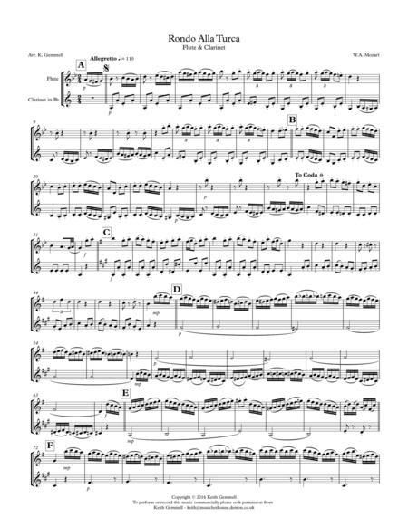Rondo Alla Turca: Flute & Clarinet Duet
