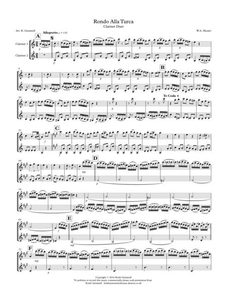 Rondo Alla Turca: Clarinet Duet