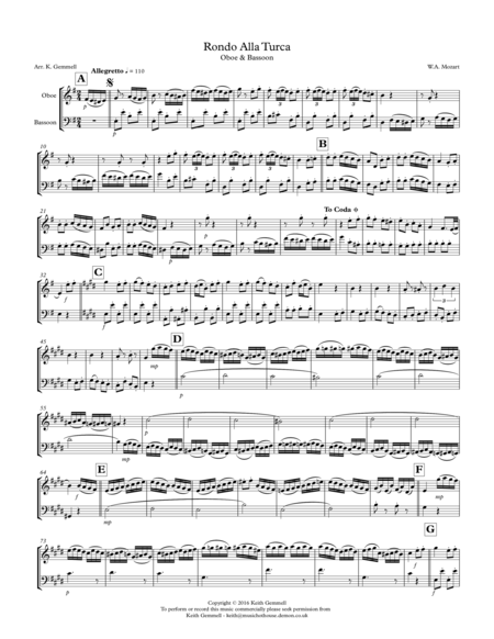 Rondo Alla Turca: Oboe and Bassoon Duet